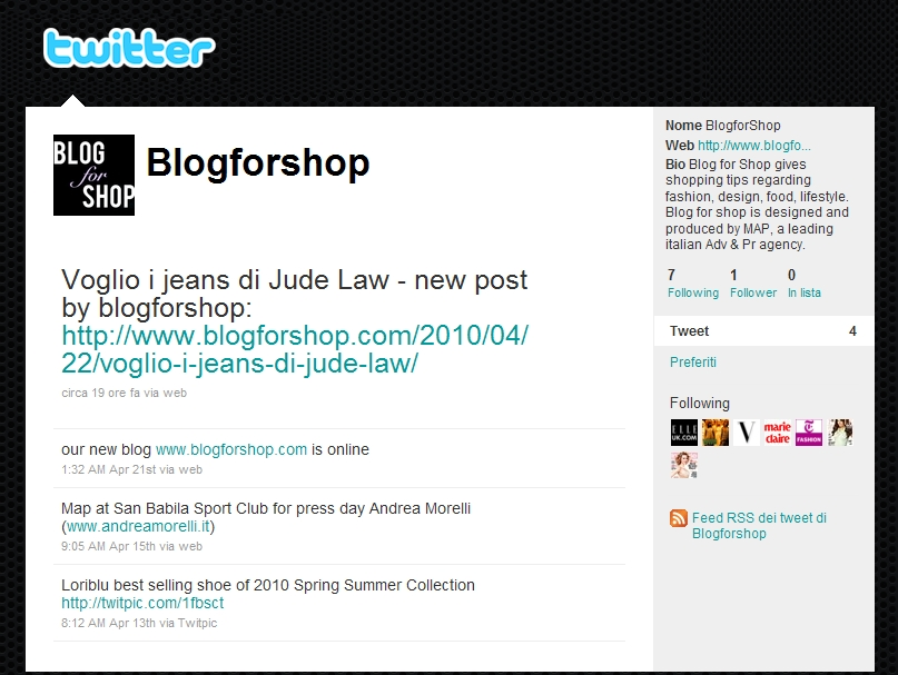 Blog for Shop su Twitter